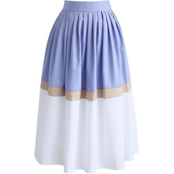 1cc18be372 Chicwish Skirts | Swingy Color Blocking Pleated Midi Skirt | Poshmark